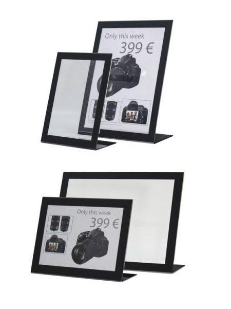 Display tipo L con marco negro (5 unidades)