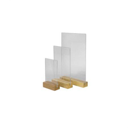 Portamenus madera base rectangular (Caja 10 ud.)