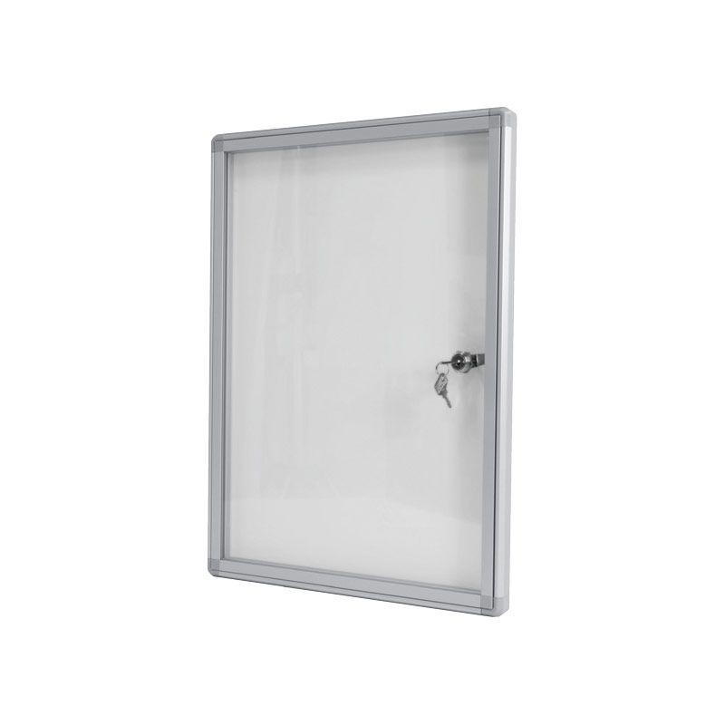 Tablón de Anuncios Blanco con cerradura con fondo metálico