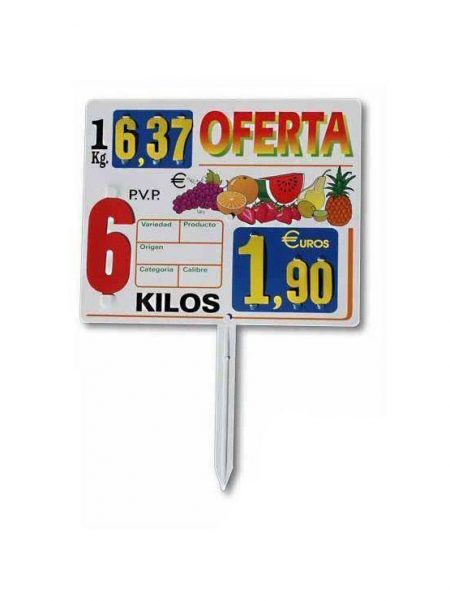 Cartel Porta Precio Frutería modelo California