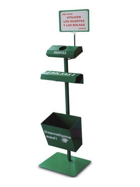 Dispensador de Bolsas y Guantes con Papelera Color Verde
