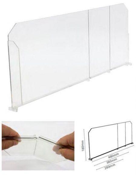 Divisor Plástico Transparente Quebradizo con L Frontal Derecha (20 unidades)