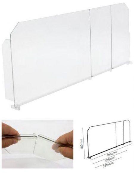 Divisor Plástico Transparente Quebradizo con L Frontal Izquierda (20 unidades)