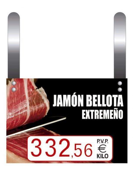 Cartel Precio Jamones Tres Cifras con Ganchos