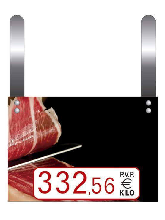 Cartel precio jamones tres cifras con ganchos para rotulador for Ganchos para percheros precio