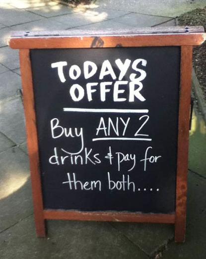 Pizarras para bares atrae a los clientes con unas risas - Pizarra para bar ...
