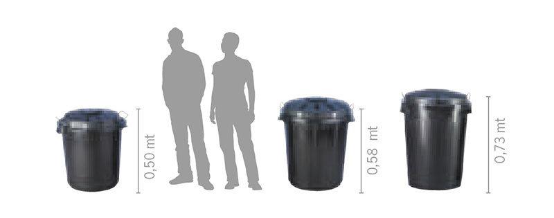 Cubos de Basura Industriales detalle medidas