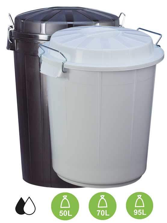 Cubos de basura industriales de pl stico color negro con tapa - Cubos de basura industriales ...