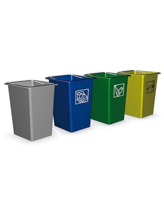 Mini contenedor reciclaje en colores gris azul verde y amarillo - Contenedores de basura para reciclaje ...