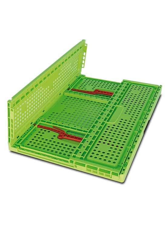 Caja fruta plegable de pl stico en color verde con asas for Cajas de plastico plegables