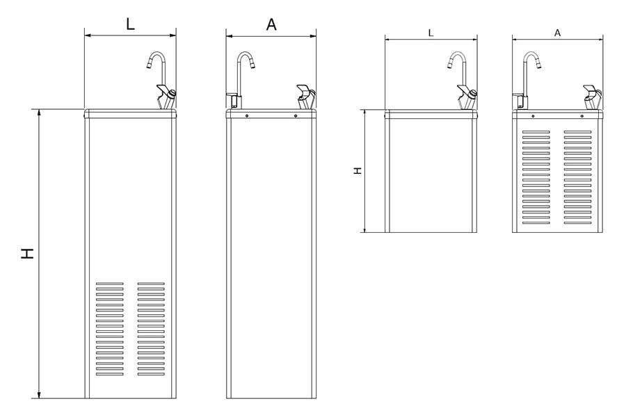 Fuentes de agua fr a fabricada en acero inoxidable for Peces de agua fria para consumo humano