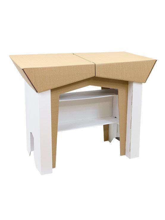 Mesa mostrador robusto de cart n combina el blanco con el color cart n - Mesas de carton ...