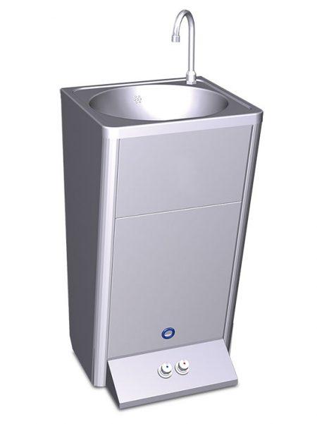 Lavamanos portátil autónomo eléctrico doble pulsador, agua fría y caliente